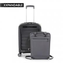 Roncato Double Walizka mała z torbą/plecakiem na laptopa czarna