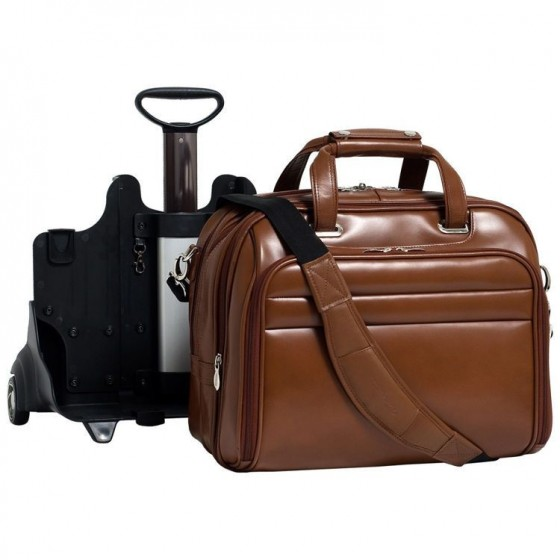 """Torba męska podróżna Midway na laptopa 17"""" z odpinanym wózkiem, skóra naturalna, marki Mcklein z Serii R - kolor brązowy"""