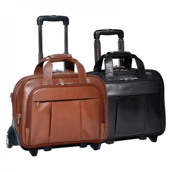 "Torba podróżna męska Damen na laptopa 17"" z odpinanym wózkiem, skóra naturalna, marki Mcklein z Serii R - kolor brązowy"