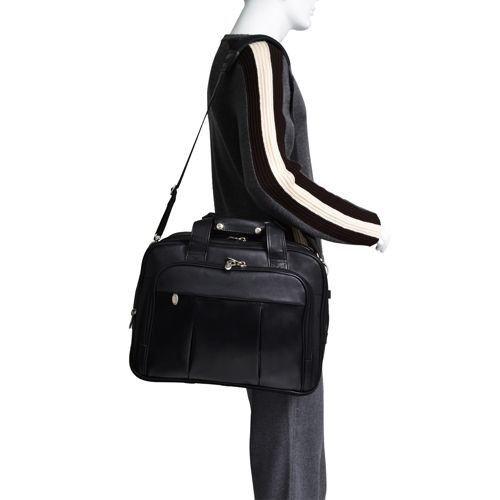 "Torba podróżna męska Damen na laptopa 17"" z odpinanym wózkiem, skóra naturalna, marki Mcklein z Serii R - kolor czarny"
