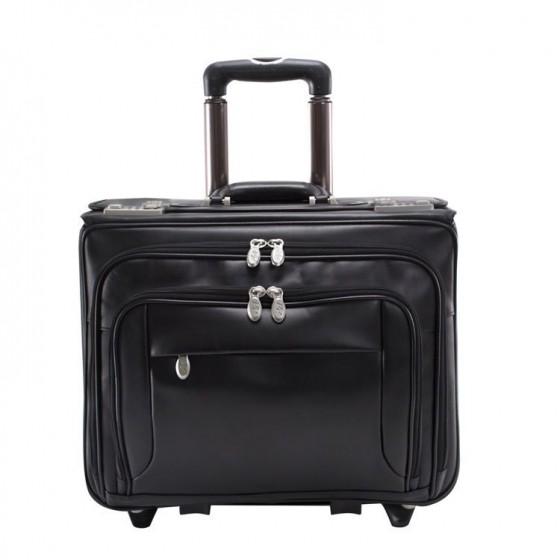 """Walizka podróżna męska Sheridan na laptopa 17"""" z odpinanym wózkiem, skóra naturalna, marki Mcklein z Serii R - kolor czarny"""