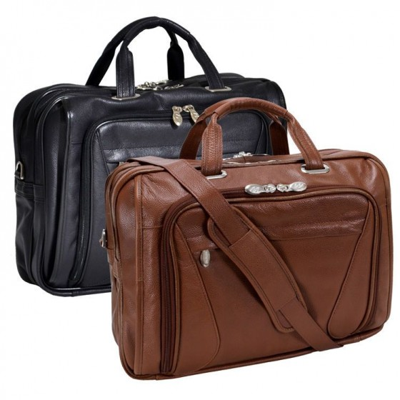 "Torba podróżna, biznesowa męska Irving Park na laptopa 15,4 "", skóra naturalna, marki Mcklein z Serii S - kolor brązowy"