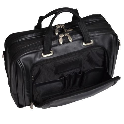 "Torba podróżna, biznesowa męska West Loop na laptopa 15,4"", skóra naturalna, marki Mcklein z Serii I - kolor czarny"