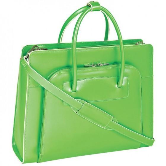 "Torba damska Lake Forest na laptopa 15,6"", skóra naturalna, marki Mcklein z Serii W - kolor zielony"