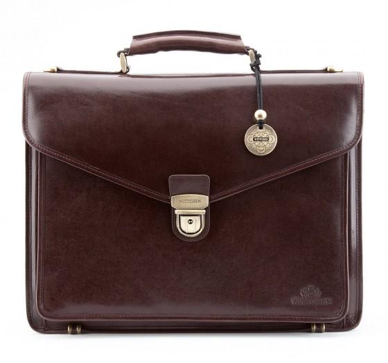 """Teczka skórzana, 3 komorowa, z pokrowcem na laptopa 15,6"""", marki Wittchen z kolekcji Italy - kolor ciemny brąz"""