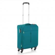 Walizka mała kabinówka miękka, 4 kółka, 46 litrów, poszerzana, zamek szyfrowy TSA, Nylon, marki Roncato kolekcja Ironik - kolor szmaragdowy