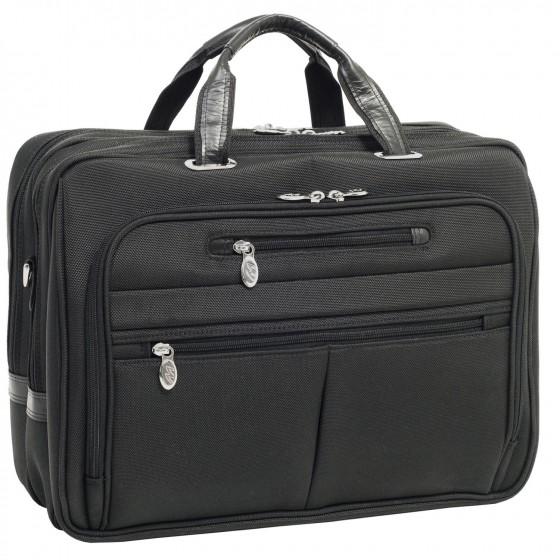 "Torba podróżna męska na laptopa 17"", nylon, marki McKlein model Rockford z serii R - kolor czarny"