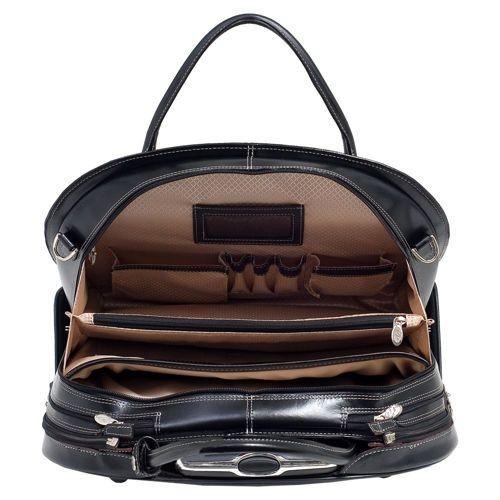 """Torba damska Glen Ellyn na laptopa 15,6"""" z odpinanym wózkiem, skóra naturalna, marki Mcklein z Serii W - kolor czarny"""