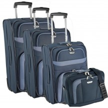 Travelite Orlando Komplet 3 walizek i torba podręczna granatowy