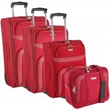 Travelite Orlando Komplet 3 walizek i torba podręczna czerwony