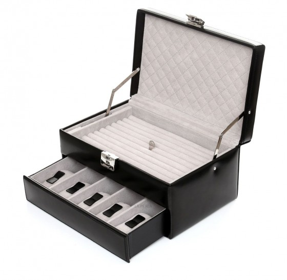 Davidt's Chrome Szkatułka na biżuterię i zegarki czarna