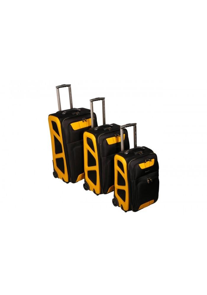 61e41670d0c30 Komplet 3 walizek podróżnych miękkich, poszerzane, 2 kółka, zamek ...