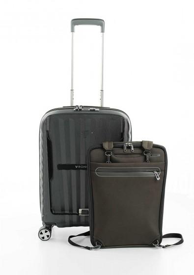 Roncato Double Walizka mała z plecakiem na laptopa czarna