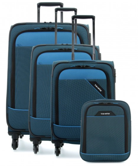 Travelite Derby Komplet 3 walizek i torba podręczna niebieski