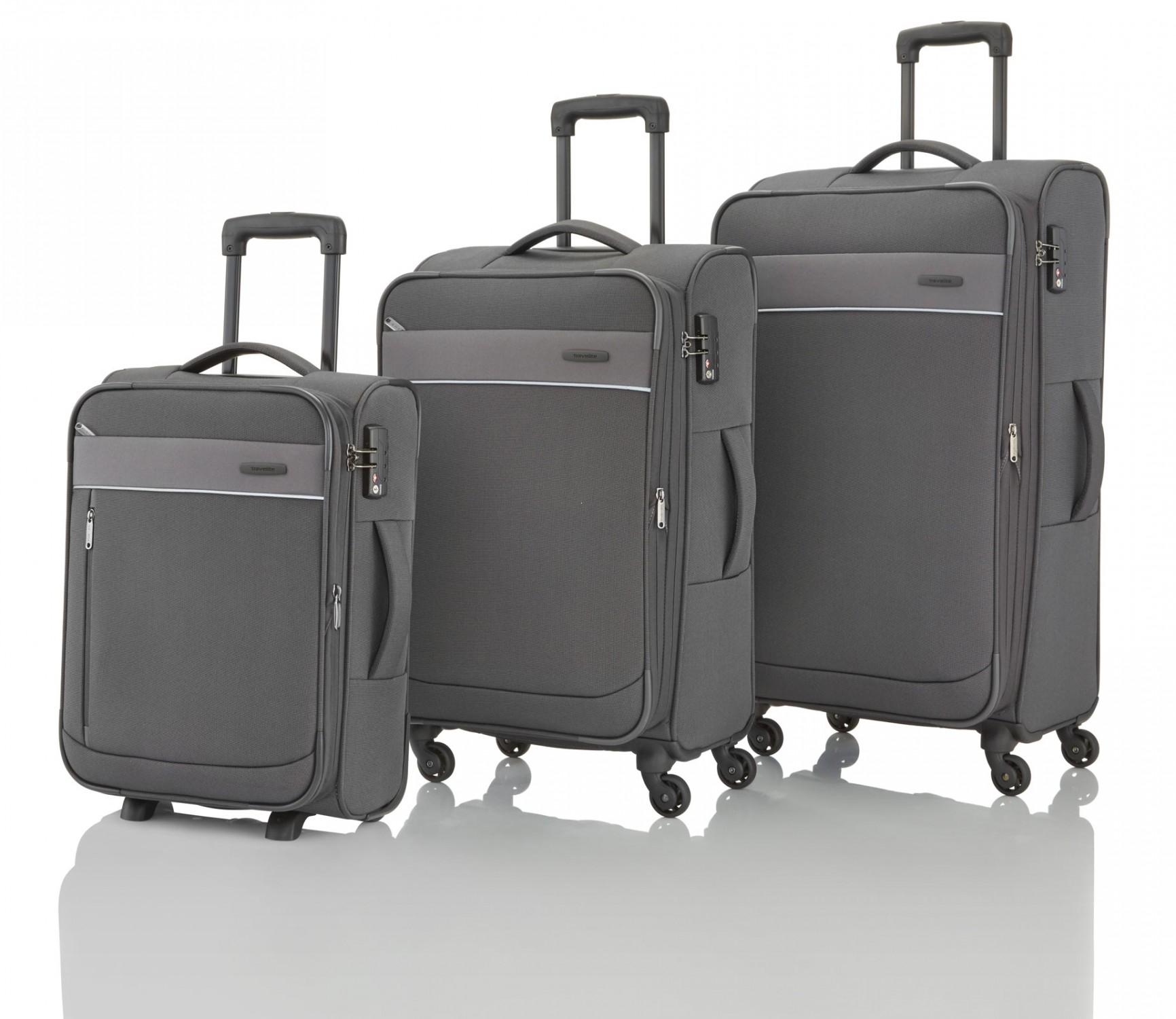 4b98a21eb8754 ... Travelite Delta Komplet 3 walizek i torba podręczna antracytowy ...