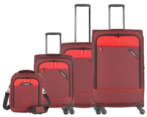 Travelite Derby Komplet 3 walizek i torba podręczna czerwony