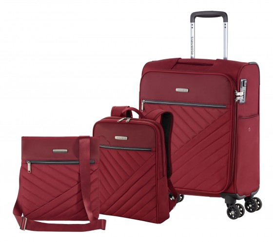 Travelite JADE Walizka mała, plecak, listonoszka bordowa